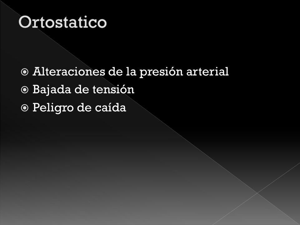 Ortostatico Alteraciones de la presión arterial Bajada de tensión
