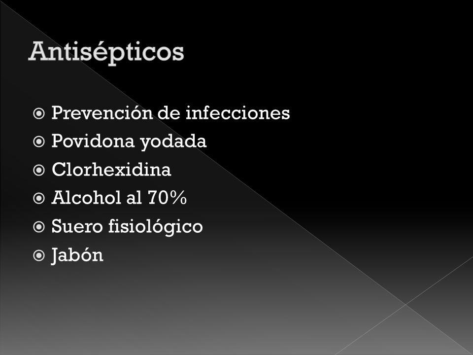 Antisépticos Prevención de infecciones Povidona yodada Clorhexidina