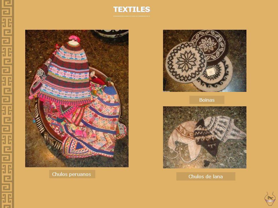 TEXTILES …………..…..…….. Boinas Chulos peruanos Chulos de lana
