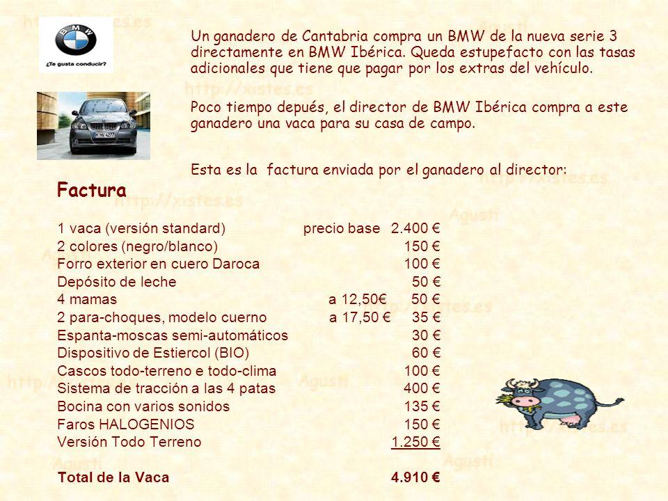 Un ganadero de Cantabria compra un BMW de la nueva serie 3 directamente en BMW Ibérica. Queda estupefacto con las tasas adicionales que tiene que pagar por los extras del vehículo.