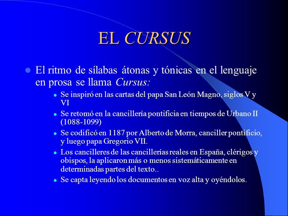 EL CURSUS El ritmo de sílabas átonas y tónicas en el lenguaje en prosa se llama Cursus: