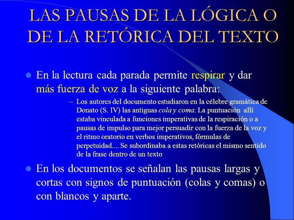 LAS PAUSAS DE LA LÓGICA O DE LA RETÓRICA DEL TEXTO