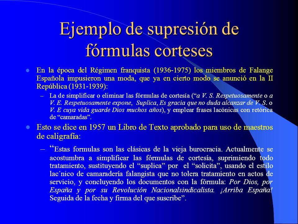 Ejemplo de supresión de fórmulas corteses