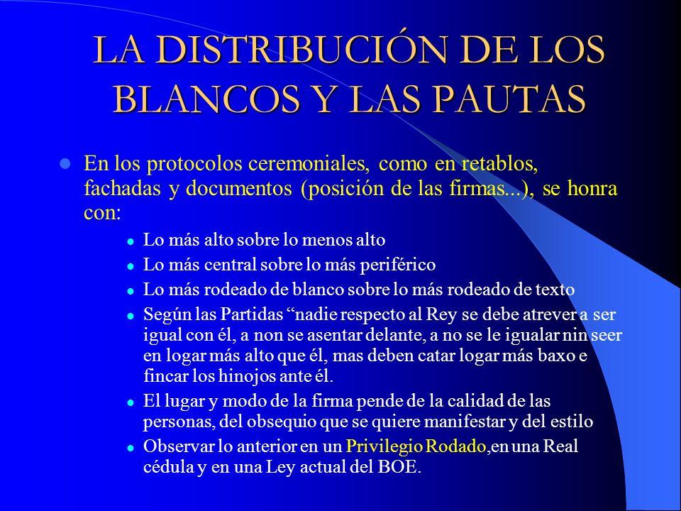 LA DISTRIBUCIÓN DE LOS BLANCOS Y LAS PAUTAS
