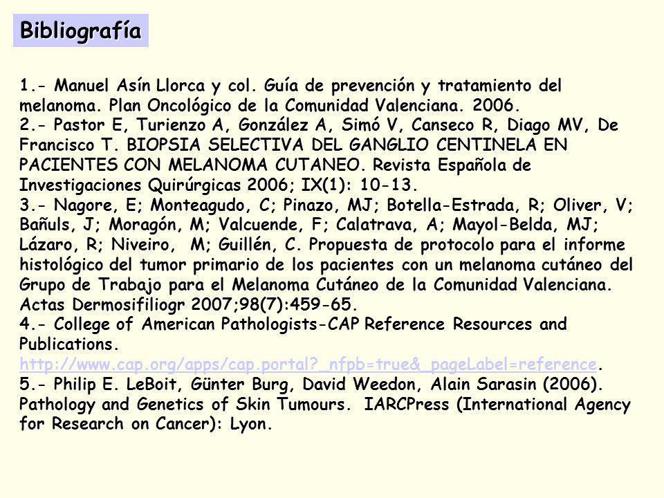 Bibliografía 1.- Manuel Asín Llorca y col. Guía de prevención y tratamiento del melanoma. Plan Oncológico de la Comunidad Valenciana. 2006.