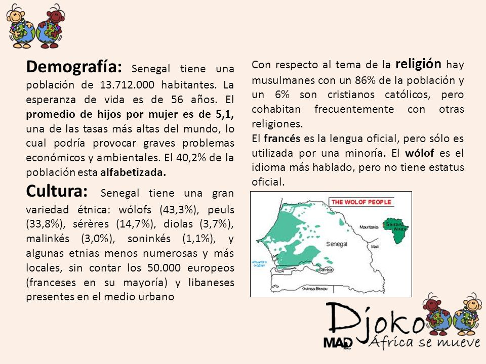 Demografía: Senegal tiene una población de 13. 712. 000 habitantes