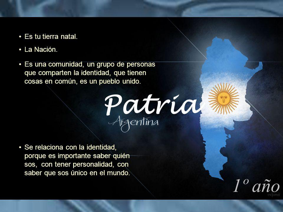 Patria 1º año Es tu tierra natal. La Nación.