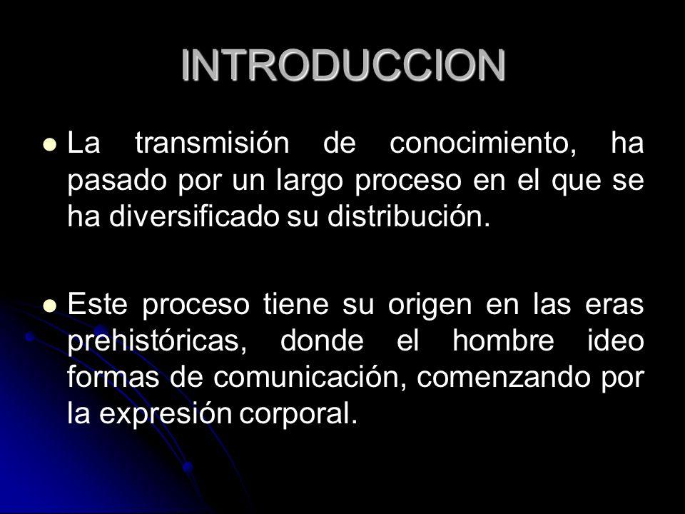 INTRODUCCION La transmisión de conocimiento, ha pasado por un largo proceso en el que se ha diversificado su distribución.