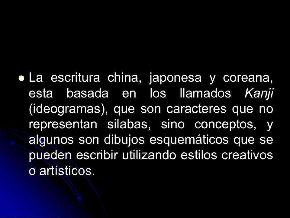 La escritura china, japonesa y coreana, esta basada en los llamados Kanji (ideogramas), que son caracteres que no representan silabas, sino conceptos, y algunos son dibujos esquemáticos que se pueden escribir utilizando estilos creativos o artísticos.