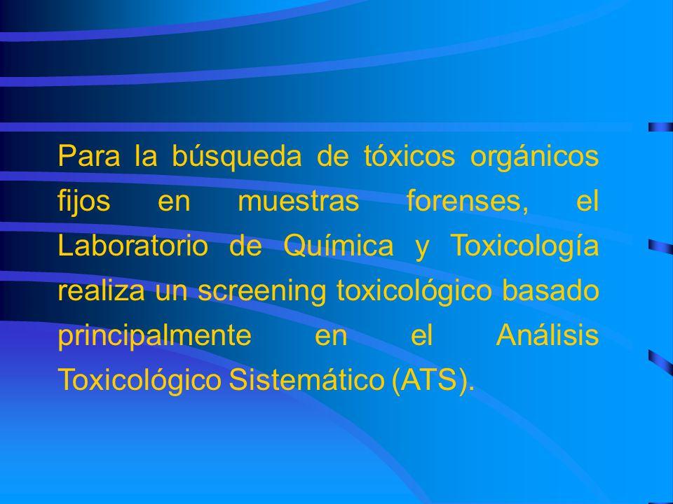 Para la búsqueda de tóxicos orgánicos fijos en muestras forenses, el Laboratorio de Química y Toxicología realiza un screening toxicológico basado principalmente en el Análisis Toxicológico Sistemático (ATS).
