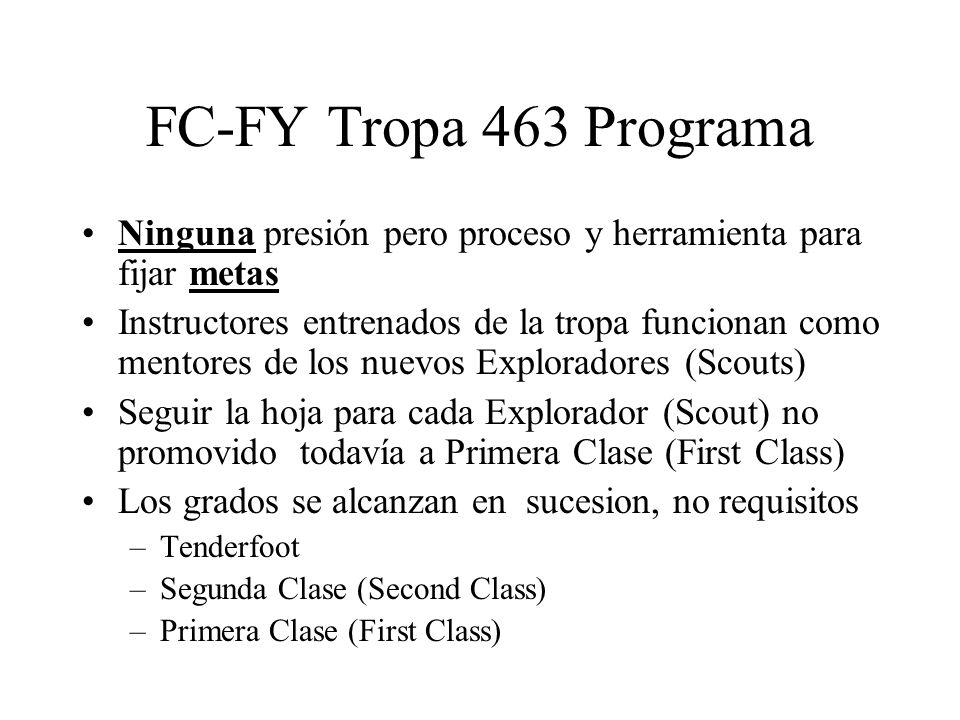 FC-FY Tropa 463 Programa Ninguna presión pero proceso y herramienta para fijar metas.