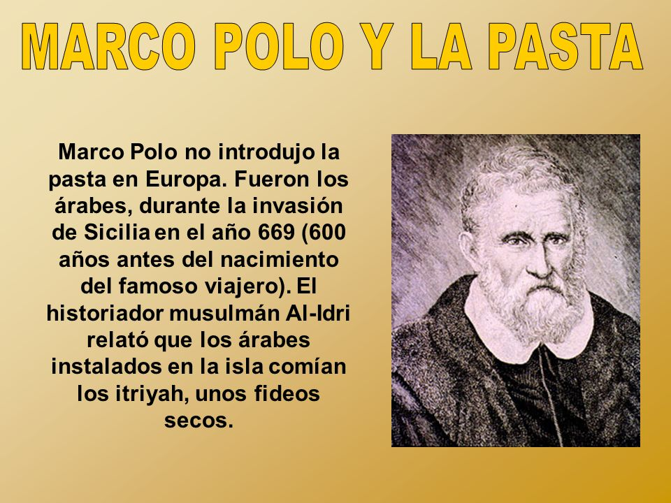 MARCO POLO Y LA PASTA