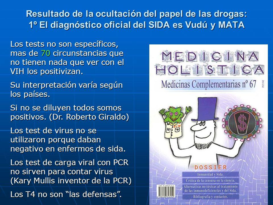 Resultado de la ocultación del papel de las drogas: 1º El diagnóstico oficial del SIDA es Vudú y MATA