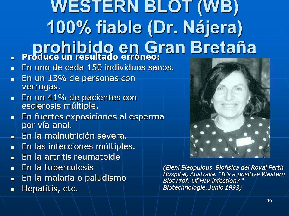 WESTERN BLOT (WB) 100% fiable (Dr. Nájera) prohibido en Gran Bretaña