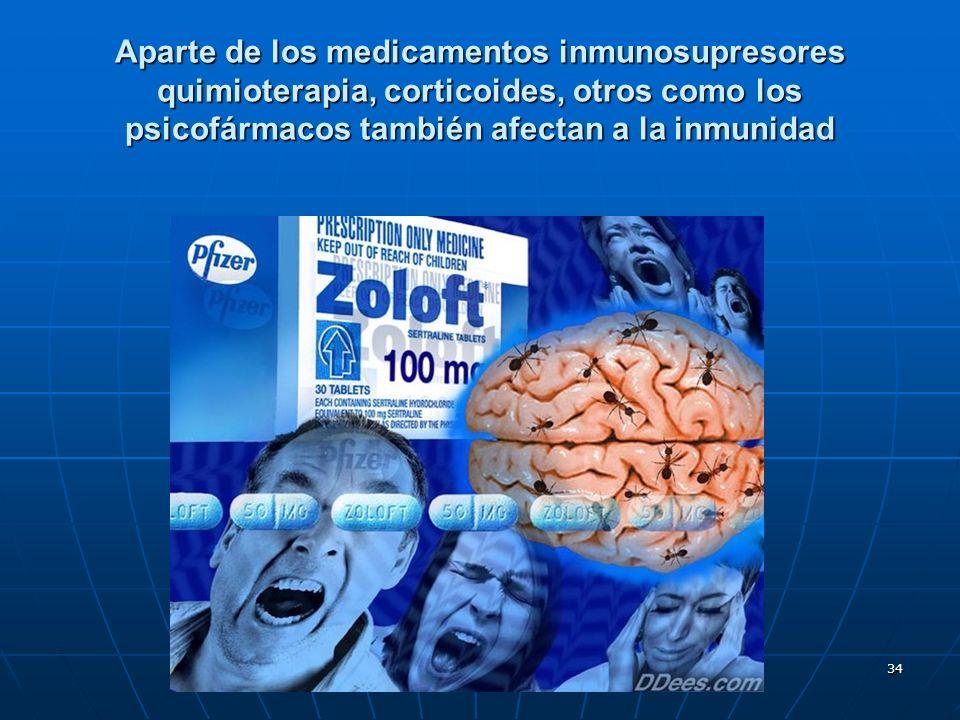 Aparte de los medicamentos inmunosupresores quimioterapia, corticoides, otros como los psicofármacos también afectan a la inmunidad