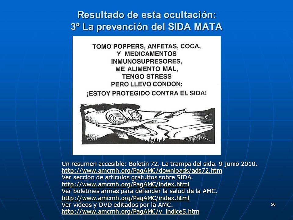 Resultado de esta ocultación: 3º La prevención del SIDA MATA