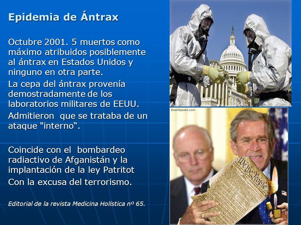 Epidemia de Ántrax Octubre 2001. 5 muertos como máximo atribuidos posiblemente al ántrax en Estados Unidos y ninguno en otra parte.