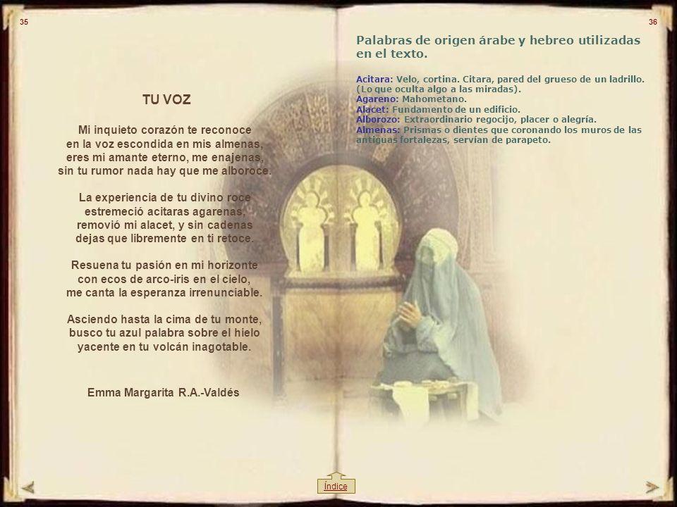 TU VOZ Palabras de origen árabe y hebreo utilizadas en el texto.