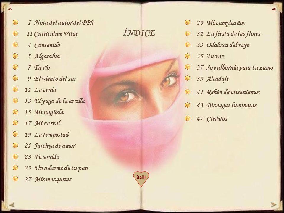 ÍNDICE I Nota del autor del PPS 29 Mi cumpleaños II Currículum Vítae