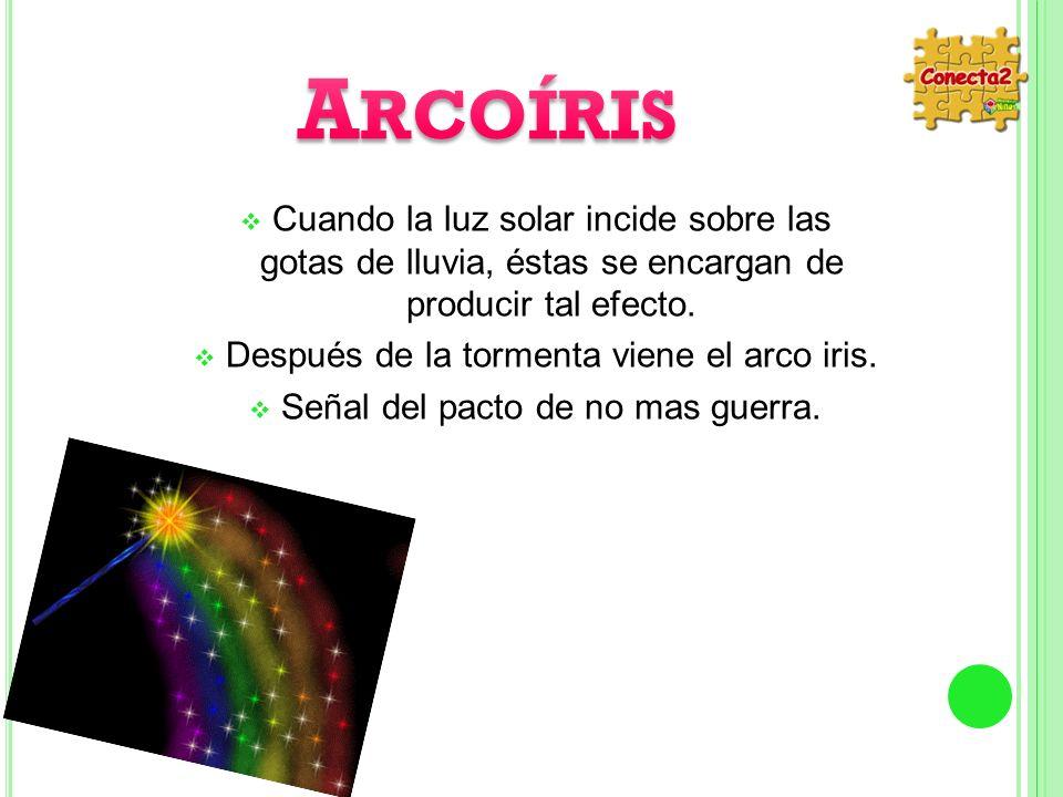 Arcoíris Cuando la luz solar incide sobre las gotas de lluvia, éstas se encargan de producir tal efecto.