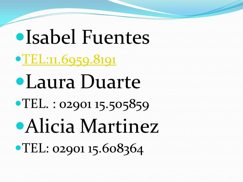Isabel Fuentes Laura Duarte Alicia Martinez TEL:11.6959.8191