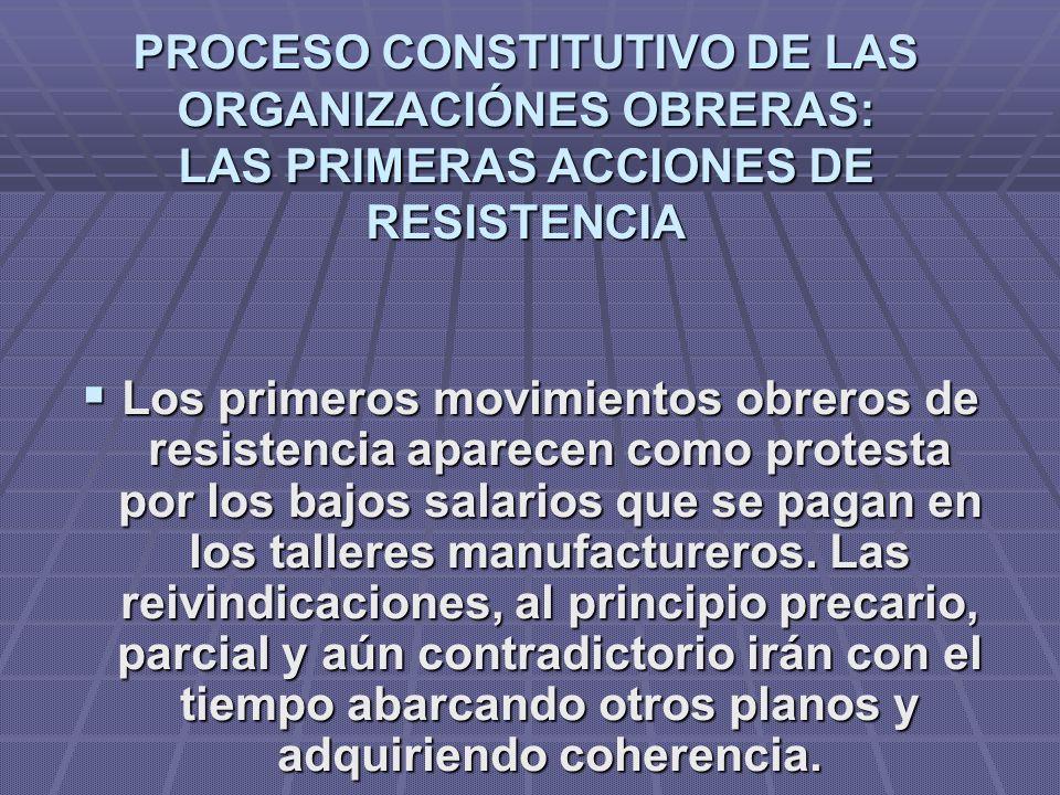 PROCESO CONSTITUTIVO DE LAS ORGANIZACIÓNES OBRERAS: LAS PRIMERAS ACCIONES DE RESISTENCIA