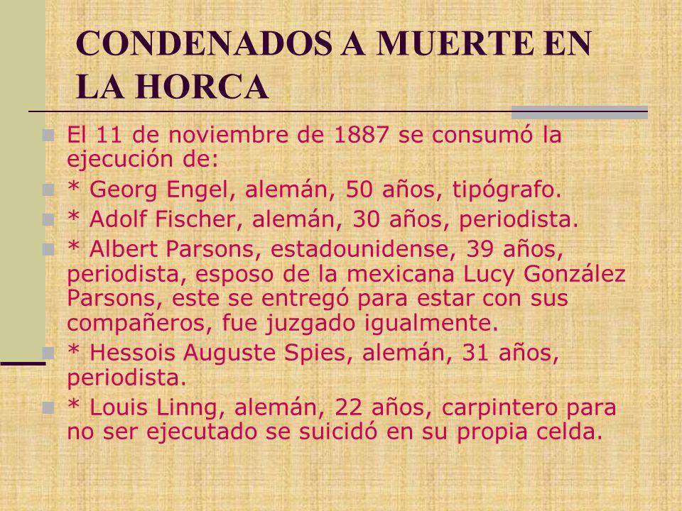 CONDENADOS A MUERTE EN LA HORCA