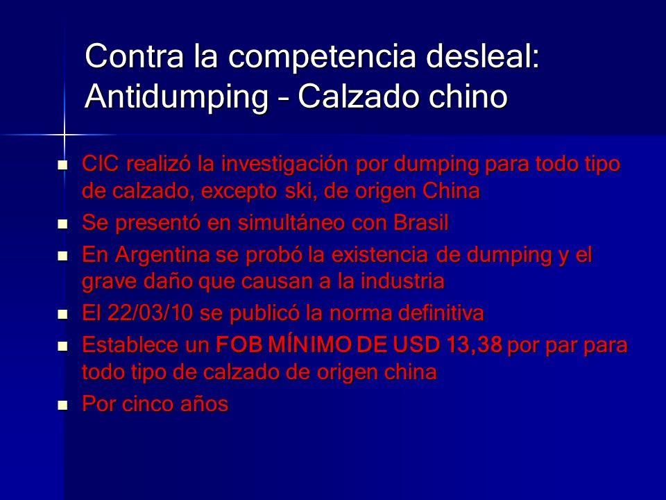 Contra la competencia desleal: Antidumping – Calzado chino