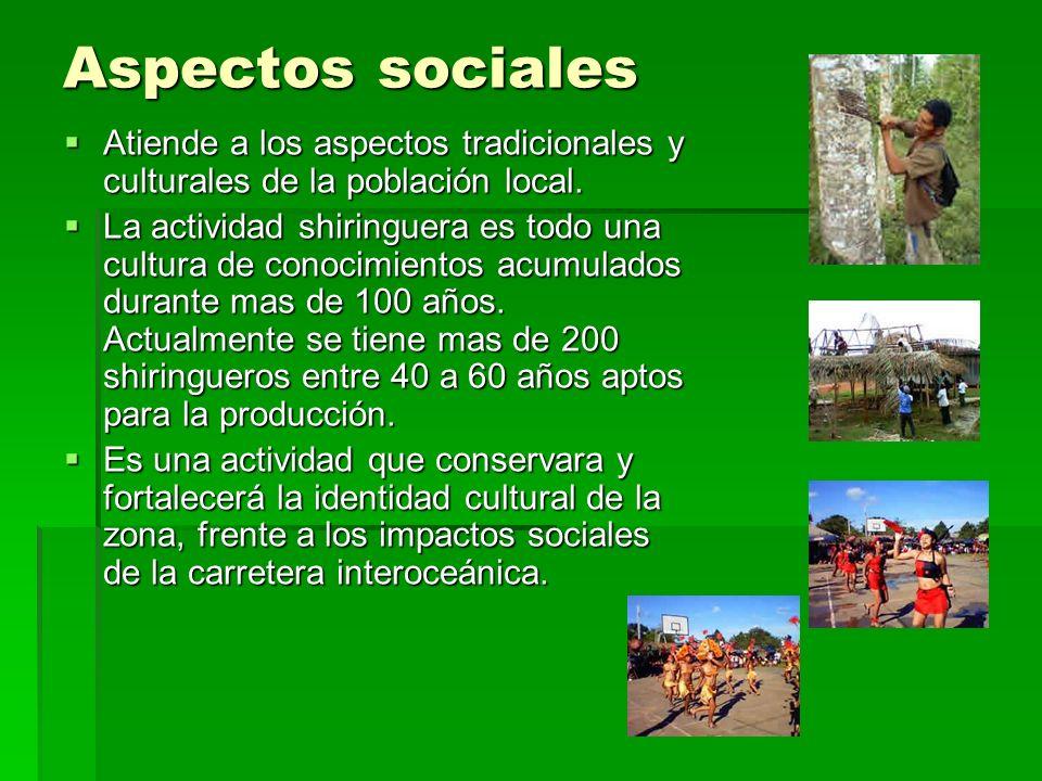 Aspectos sociales Atiende a los aspectos tradicionales y culturales de la población local.