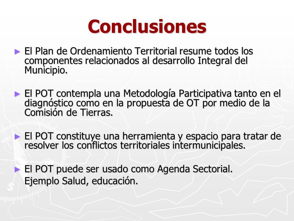 Conclusiones El Plan de Ordenamiento Territorial resume todos los componentes relacionados al desarrollo Integral del Municipio.