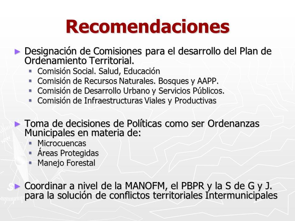 Recomendaciones Designación de Comisiones para el desarrollo del Plan de Ordenamiento Territorial. Comisión Social. Salud, Educación.