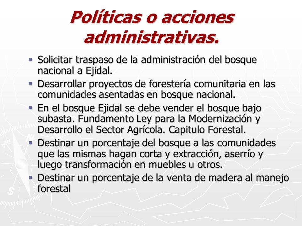 Políticas o acciones administrativas.