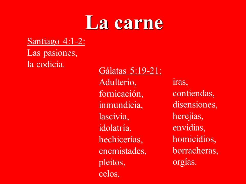 La carne Santiago 4:1-2: Las pasiones, la codicia. Gálatas 5:19-21: