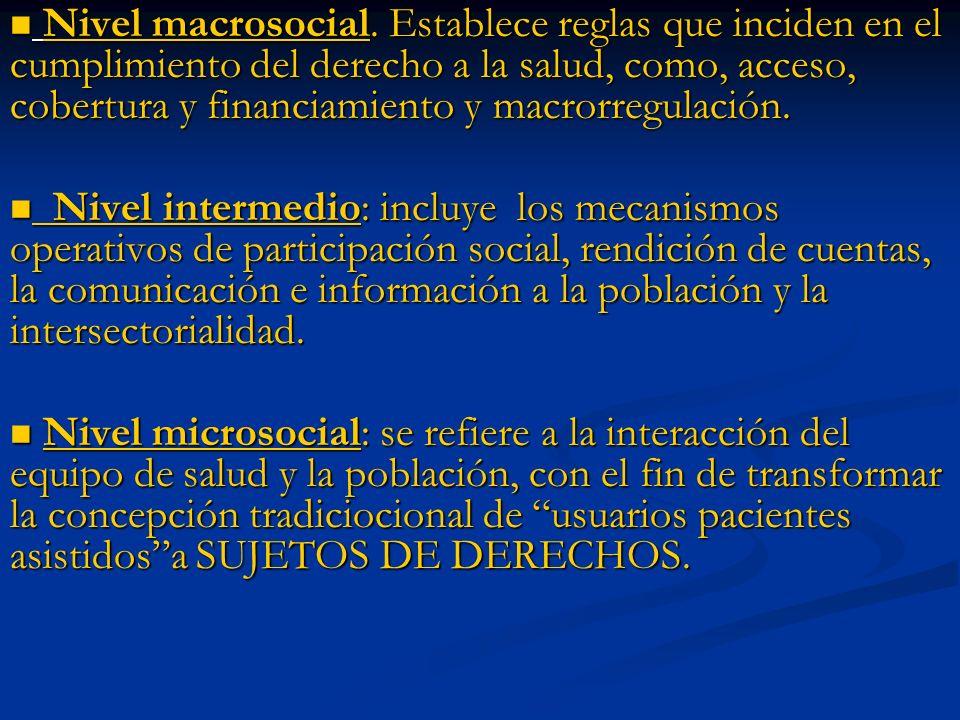 Nivel macrosocial. Establece reglas que inciden en el cumplimiento del derecho a la salud, como, acceso, cobertura y financiamiento y macrorregulación.