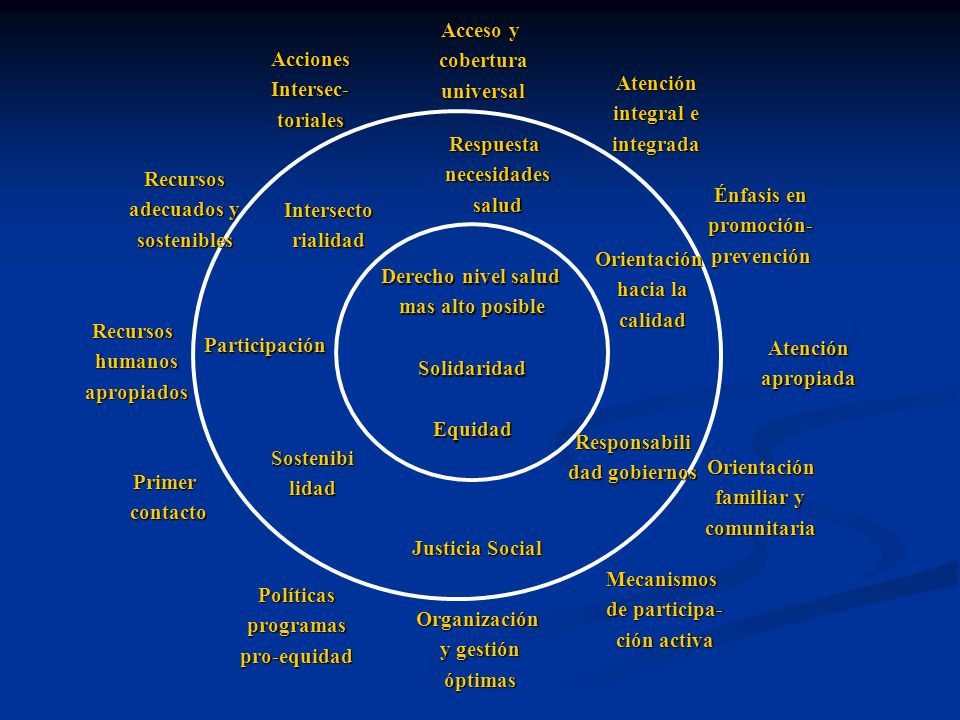 Acceso y cobertura. universal. Acciones. Intersec- toriales. Atención. integral e. integrada.