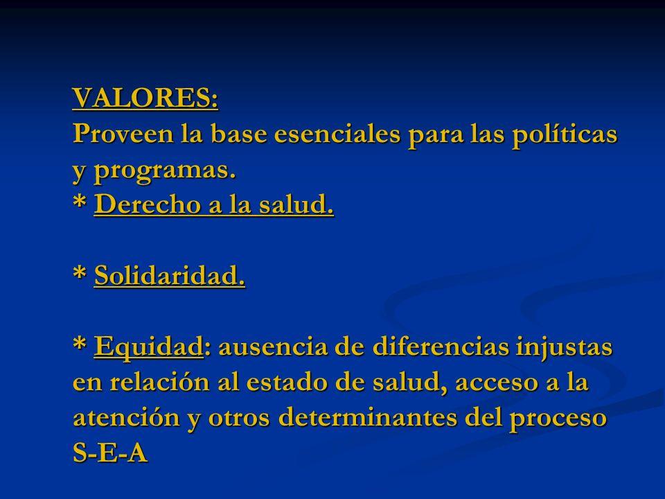 VALORES: Proveen la base esenciales para las políticas y programas