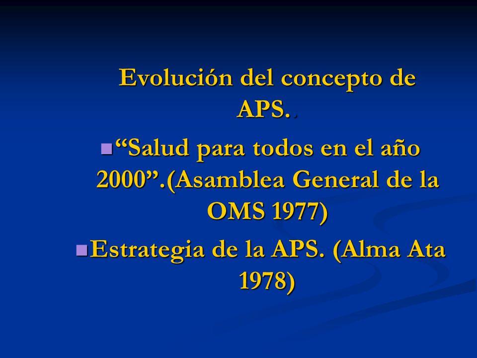 Salud para todos en el año 2000 .(Asamblea General de la OMS 1977)