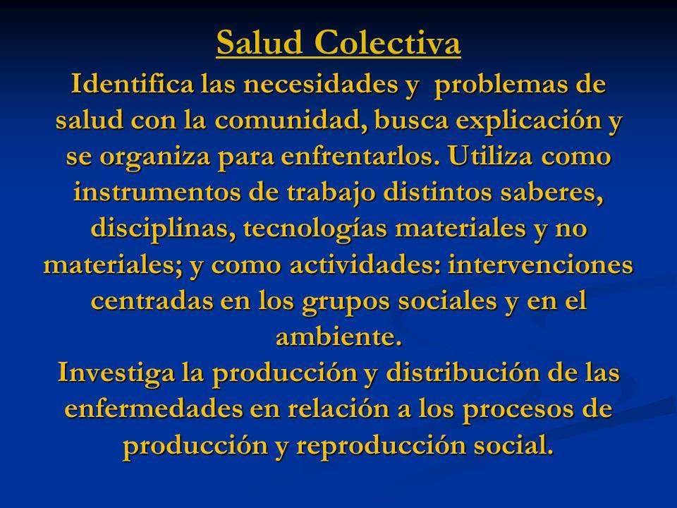 Salud Colectiva Identifica las necesidades y problemas de salud con la comunidad, busca explicación y se organiza para enfrentarlos.