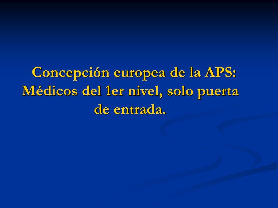 Concepción europea de la APS: Médicos del 1er nivel, solo puerta de entrada.