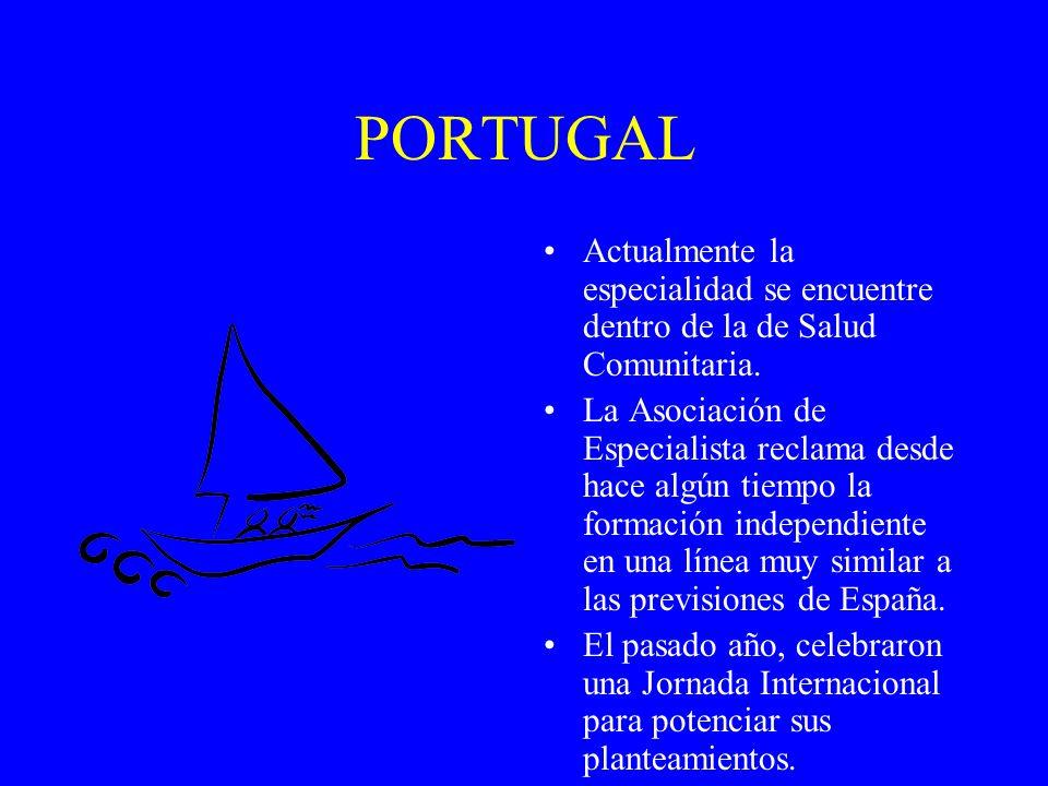 PORTUGAL Actualmente la especialidad se encuentre dentro de la de Salud Comunitaria.