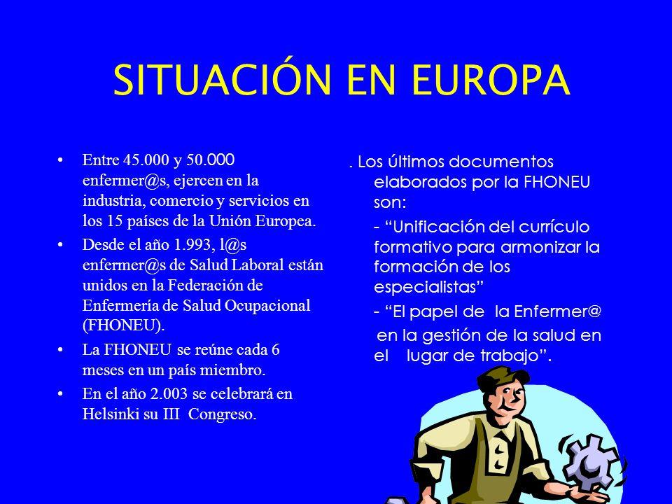 SITUACIÓN EN EUROPA Entre 45.000 y 50.000 enfermer@s, ejercen en la industria, comercio y servicios en los 15 países de la Unión Europea.
