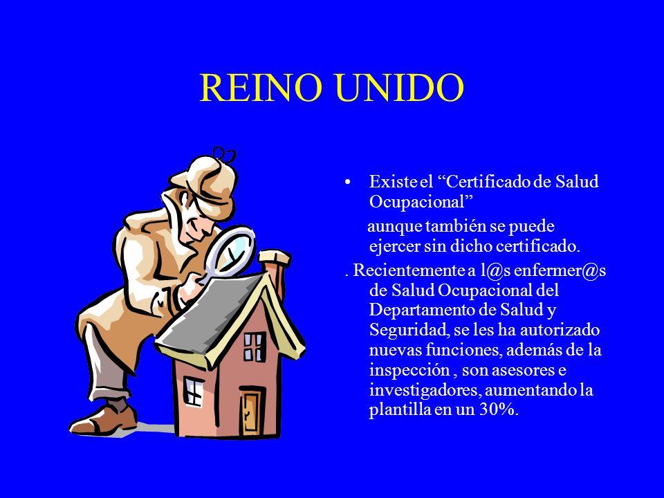 REINO UNIDO Existe el Certificado de Salud Ocupacional