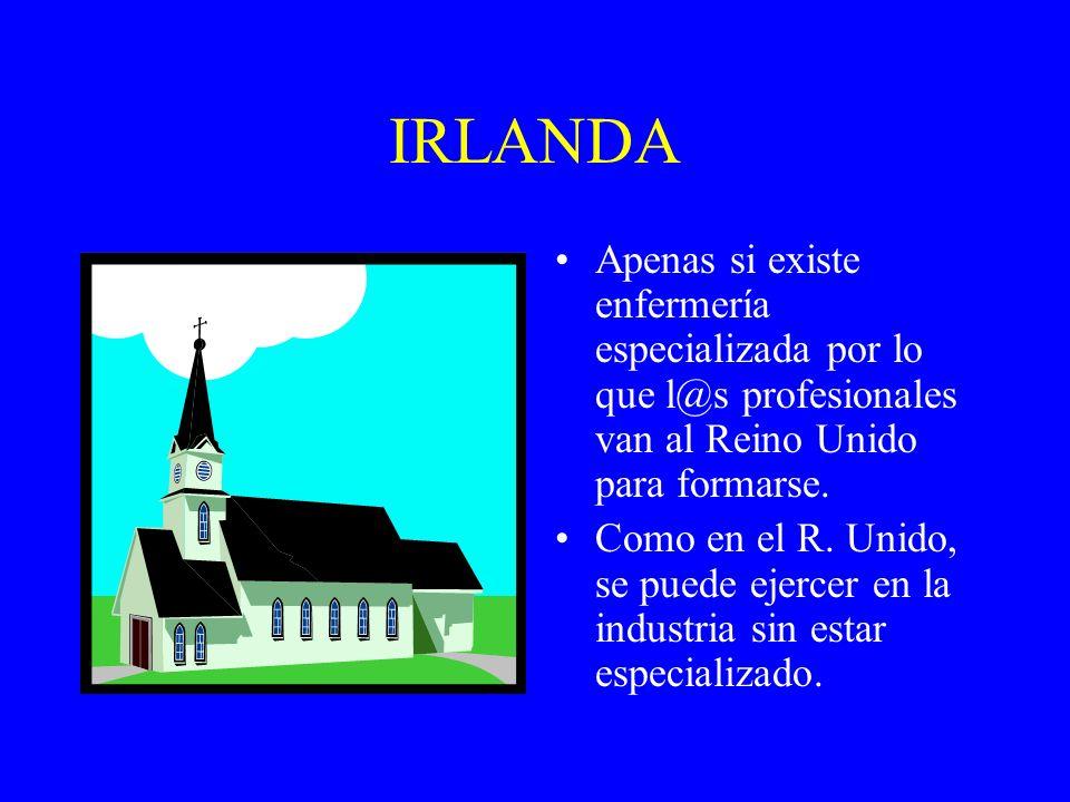 IRLANDA Apenas si existe enfermería especializada por lo que l@s profesionales van al Reino Unido para formarse.