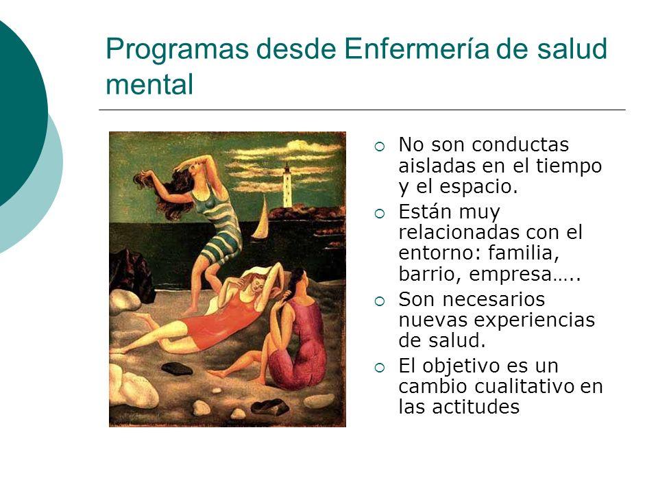 Programas desde Enfermería de salud mental