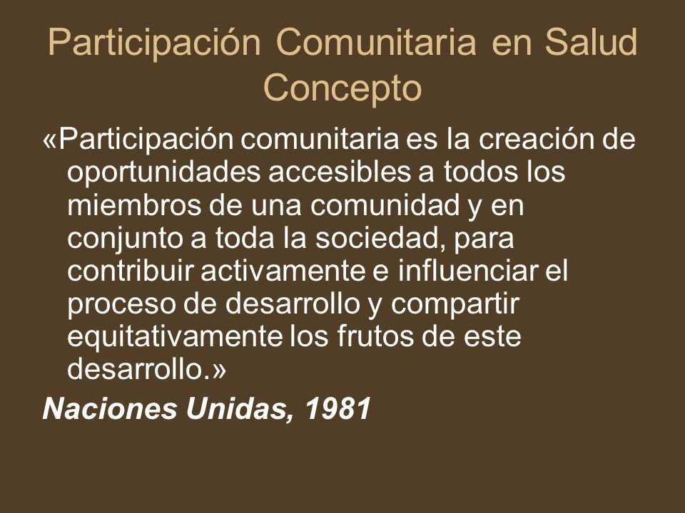 Participación Comunitaria en Salud Concepto