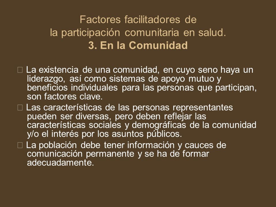Factores facilitadores de la participación comunitaria en salud. 3
