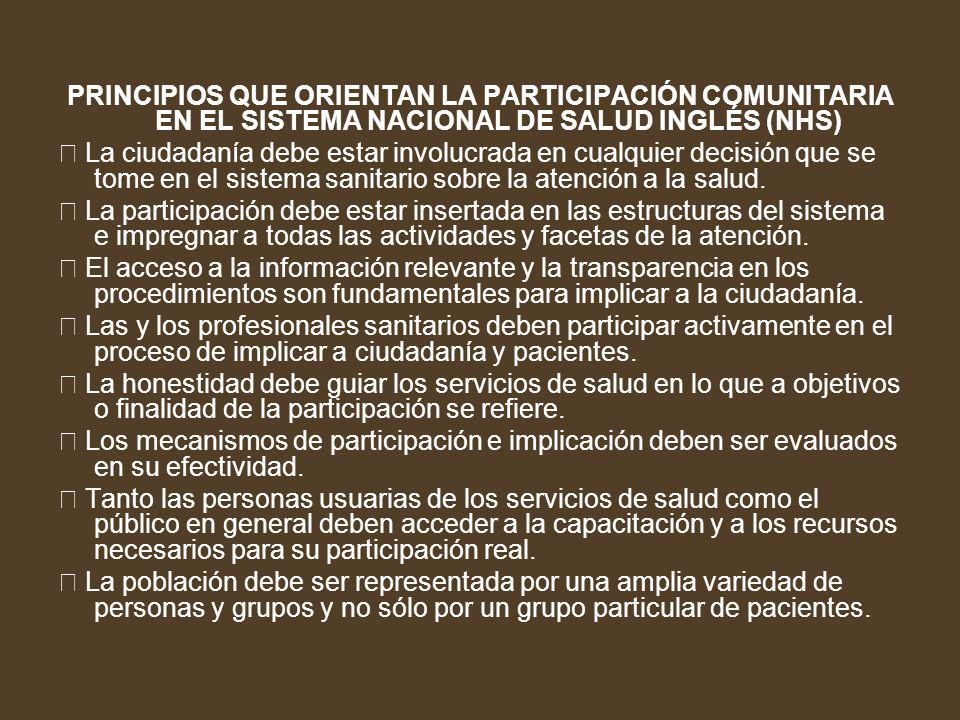PRINCIPIOS QUE ORIENTAN LA PARTICIPACIÓN COMUNITARIA EN EL SISTEMA NACIONAL DE SALUD INGLÉS (NHS)
