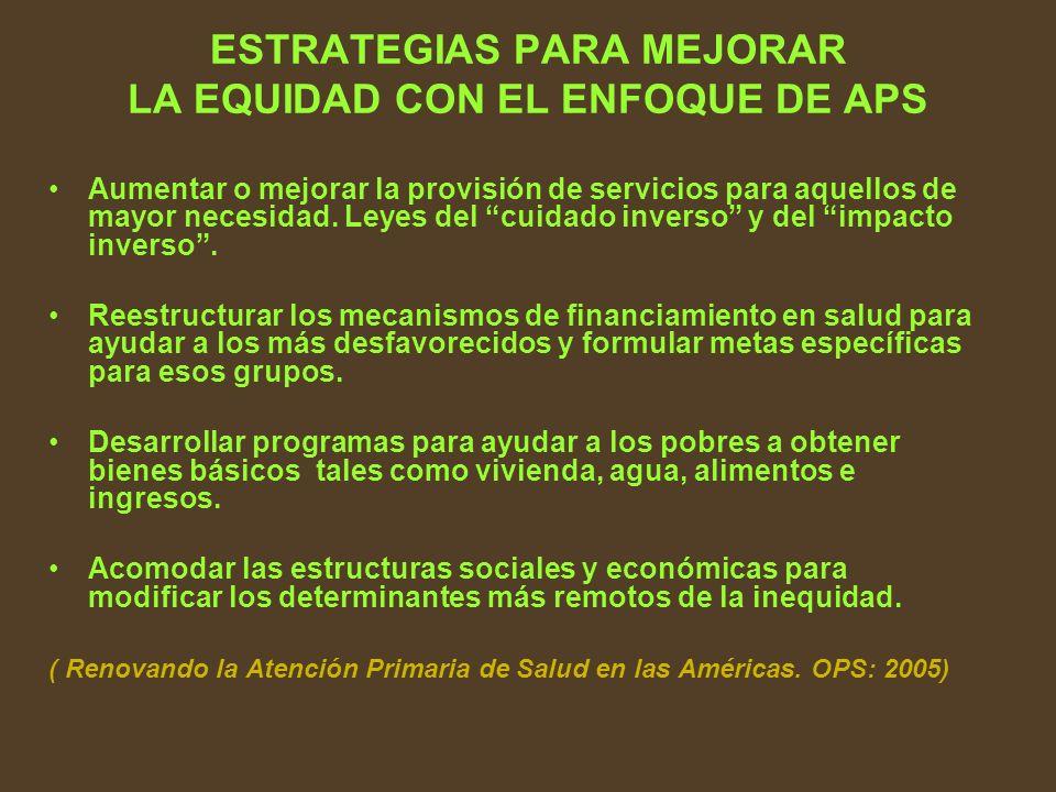 ESTRATEGIAS PARA MEJORAR LA EQUIDAD CON EL ENFOQUE DE APS