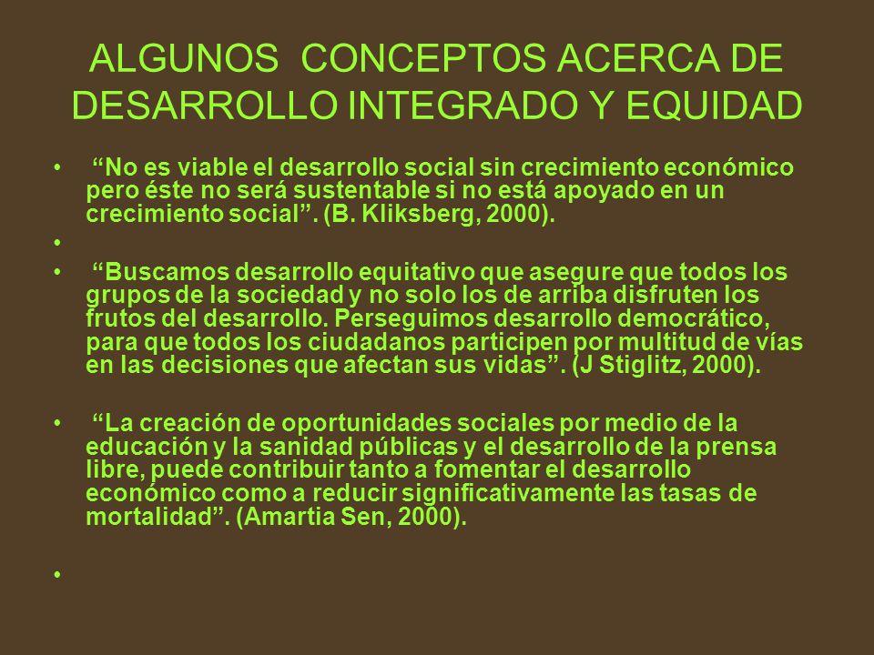 ALGUNOS CONCEPTOS ACERCA DE DESARROLLO INTEGRADO Y EQUIDAD