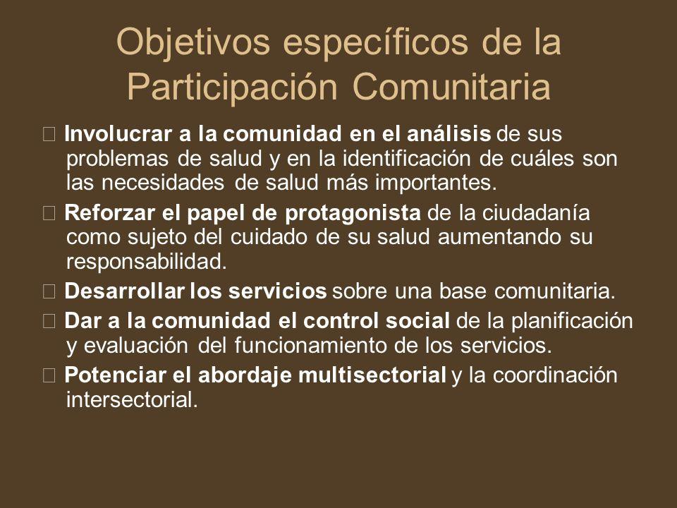 Objetivos específicos de la Participación Comunitaria